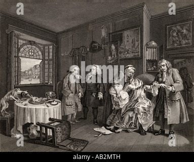 Marriage a la Mode. Death of the Countess. From the original by Hogarth - Stock Photo
