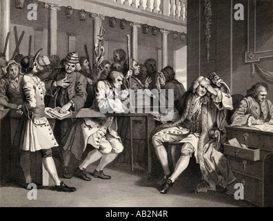 Industry and Idleness The industrious prentice alderman of London  by Hogarth - Stock Photo