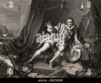 Garrick in the character of Richard the Third David Garrick 1717 to 1779 English actor. - Stock Photo