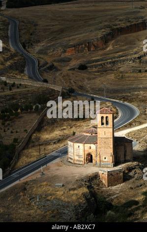 Iglesia de la Vera Cruz appears through break in clouds Segovia Spain - Stock Photo