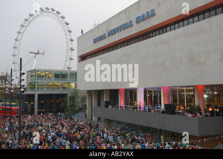 Royal Festival Hall free concert by Billy Bragg South Bank London England  June 9th  Reopening ceremony - Stock Photo