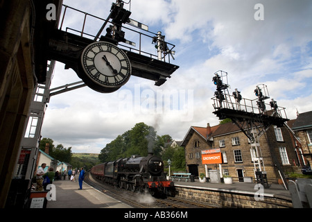 The North Yorkshire Moors Railway station in the village of Grosmont Enfland UK - Stock Photo