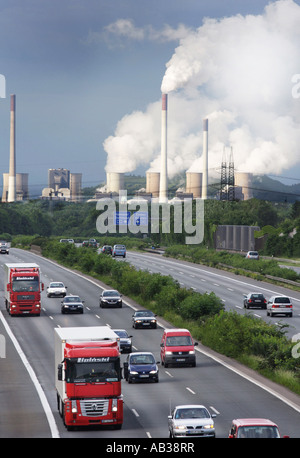 DEU, Germany : Autobahn,m motorway A2 in Bottrop. Hard coal power station of EON Kraftwerke GmbH in Gelsenkirchen - Stock Photo