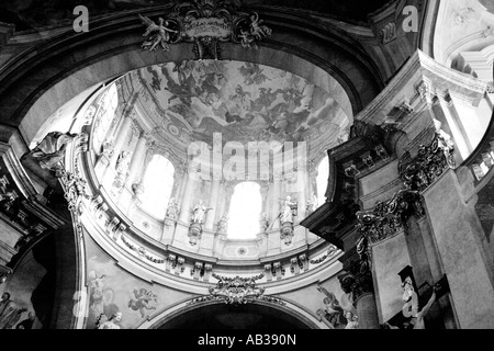 Light play inside a church in Prague - Stock Photo