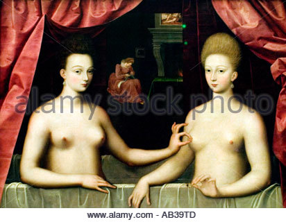 Portrait of Gabrielle d'Estrees and her sister the Duchess of Villars 1594, School of Fontainebleau - Stock Photo