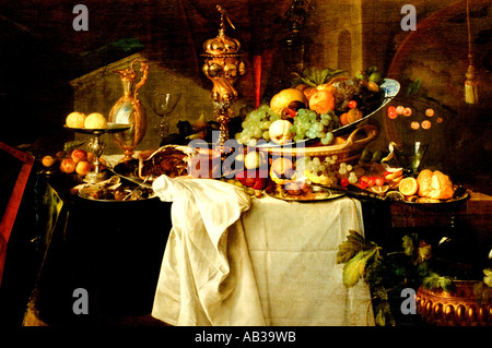 Jan Davidsz de Heem Fruits on a rich table still life - Stock Photo