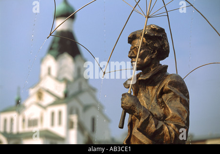 A statue of the American artist Andy Warhol in Slovakia, near the birthplace of his parents - Stock Photo