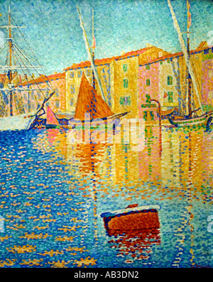 Paul Signac 1863 - 1935 France French  The Red Buoy. 1895. - Stock Photo