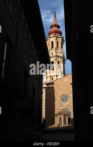 La Seo San Salvador Cathedral from side street Zaragoza Spain - Stock Photo