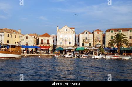 The port town of Supetar on the island of Brac off Split, Croatia - Stock Photo