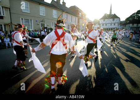 Morris dancers at the Great Morris Ring gathering Thaxted Essex Britain 02 03 June 2007 - Stock Photo