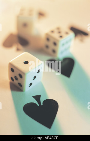 Dice on Playing Cards - Stock Photo