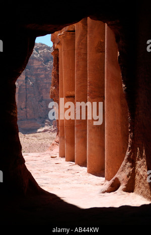 View looking out from the Urn Tomb at Petra in Jordan - Stock Photo