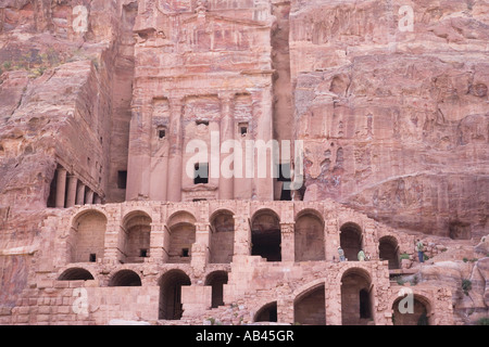 The Urn Tomb one of the Royal Tombs at Petra - Stock Photo