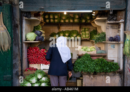 Fresh produce for sale in the souq at Bab Antakya Aleppo - Stock Photo