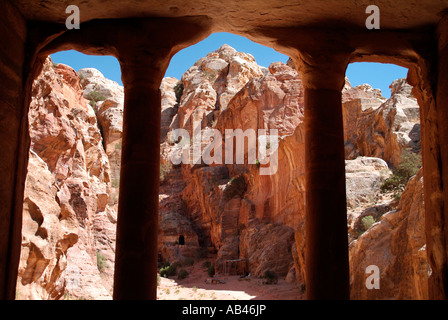 View looking out from the Garden Temple in Wadi Farasa at Petra in Jordan - Stock Photo