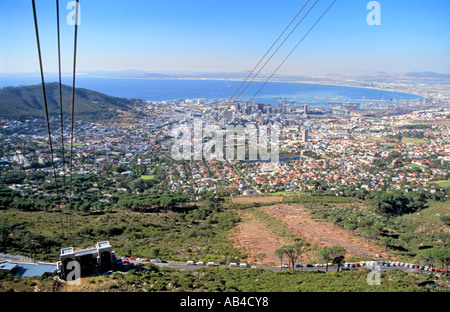 A view of Capetown, Table bay and the lower cable station from the rotair cable car as it ascends. - Stock Photo