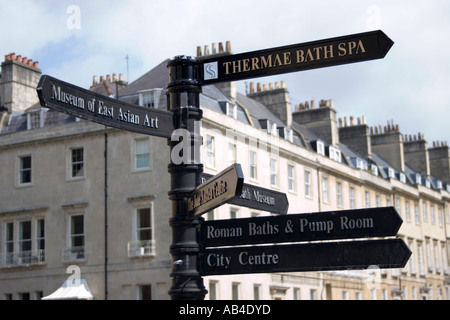 Signpost in front of typical Georgian town houses Bath Spa, Somerset, England, Europe. - Stock Photo