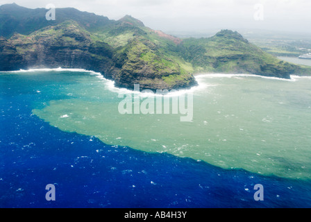 Aerial view of runoff from heavy rainstorms Nawiliwili Kauai Hawaii - Stock Photo
