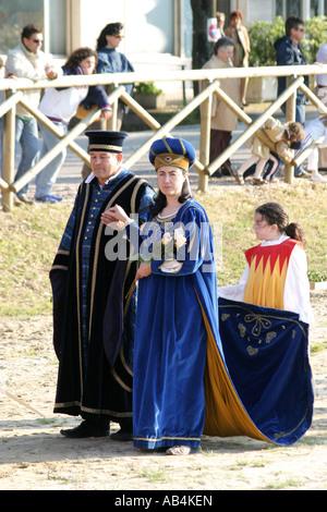 Medieval costume parade at the annual Penticost festival in Monterubbiano,Le Marche Italy - Stock Photo