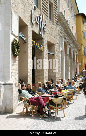 Cafe society in Urbino Le Marche Ital - Stock Photo