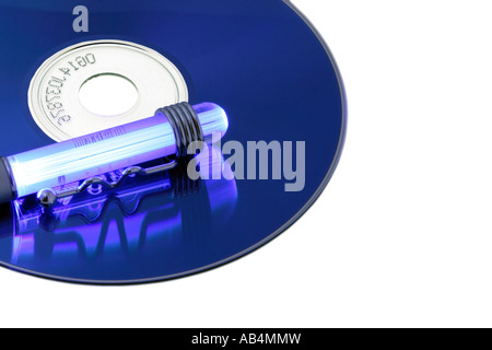 CD-ROM or DVD with light and reflections over a white background - Stock Photo