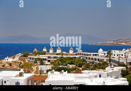 Mykonos Harbour Greece - Stock Photo