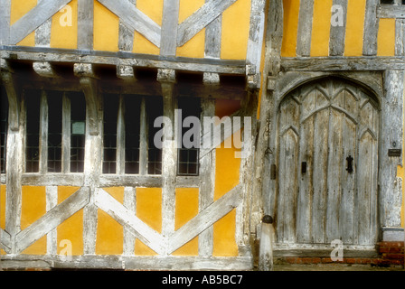 Detail of Little Hall a 14th century Wool Merchants Half Timbered Building in Lavenham Suffolk UK - Stock Photo