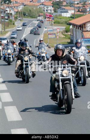 Harley, Davidson, gang, hells angels, hells, angels, motorcycle, motorbike, bike, cycle, middle, aged, age, men, - Stock Photo