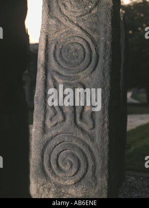 Celtic carving on one of the three Anglo Saxon cross shafts in the churchyard of All Saints church Ilkley West Yorkshire - Stock Photo