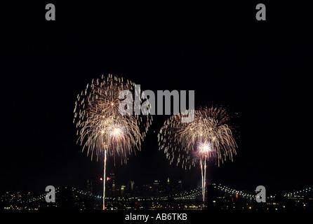 Fireworks New York City Brooklyn Bridge - Stock Photo