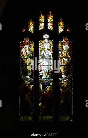 St Michael's parish church Linlithgow interior view of stained glass window - Stock Photo