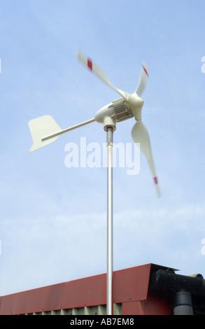 Micro Wind Turbine on roof of Powertech Ltd in Ferndown Dorset England small wind component supply company - Stock Photo