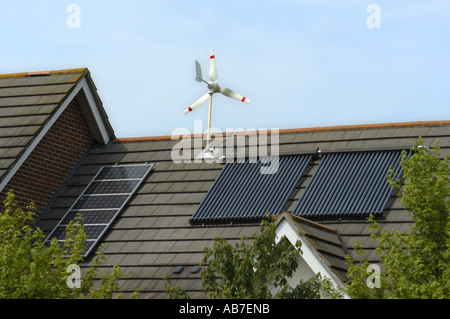 Micro Wind Turbine Solar Voltaic and Evacuated solar tubes on roof
