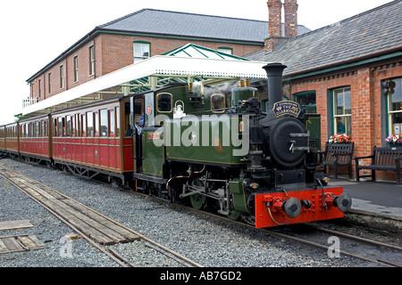 The Quarryman train at Tywyn Station on Talyllyn Narrow gauge railway North Wales - Stock Photo