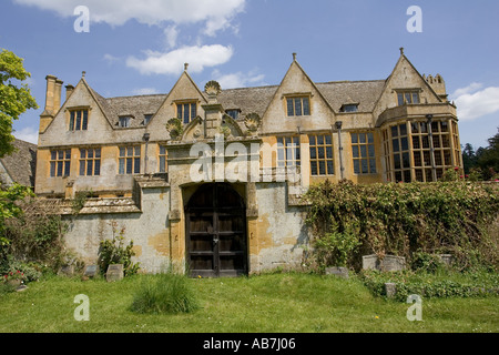 Stanway Manor House built in Jacobean period architecture 1630 in Guiting yellow stone Stanton Cotswolds UK - Stock Photo