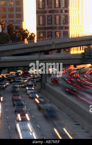 traffic downtown Los Angeles California - Stock Photo