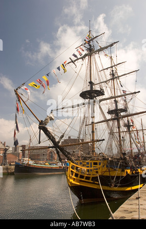 Lv021 Merseyside Liverpool Mersey River Festival Grand Turk tall ship in Canning Half Tide Dock - Stock Photo