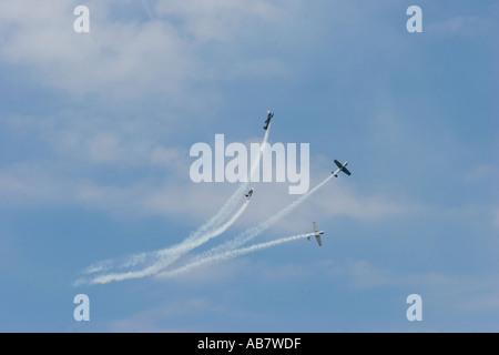 Merseyside Liverpool Mersey River Festival waterfront Yakovlevs aerobatics display over Birkenhead