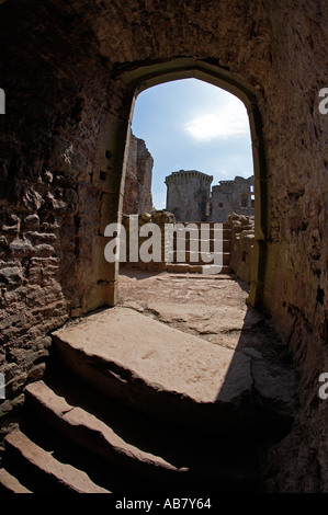 Raglan Castle Monmouthshire South East Wales - Stock Photo