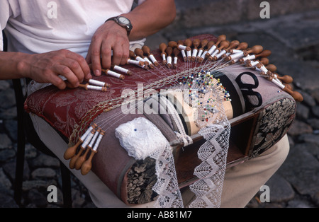 Traditional French lace making (on a laptop loom), Le Puy-en-Velay, Haute Loire, France - Stock Photo