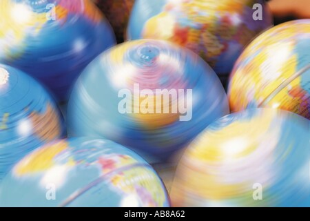 Spinning globes - Stock Photo