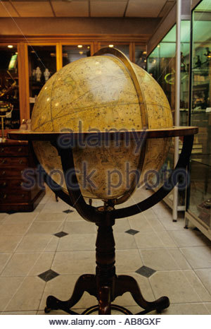 An antique globe of the world from 1799 in Trevor Philip Antiques shop in London's West End - Stock Photo