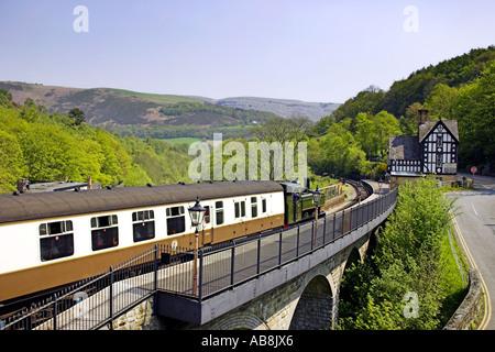 Steam Engine Llangollen Berwyn Station Denbighshire North Wales UK United Kingdom Europe - Stock Photo