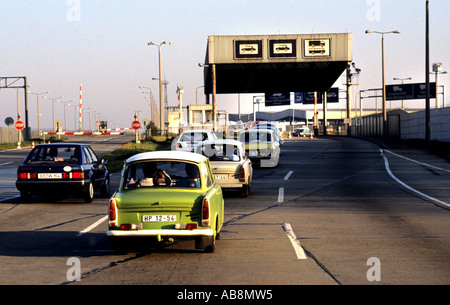 Checkpoint Charlie C Berlin Wall border crossing point  East Berlin - West Berlin during the Cold War 1989 Germany - Stock Photo