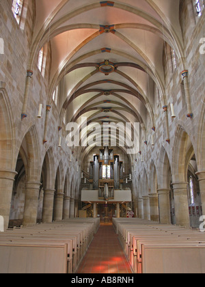 Nave of Roman church St. Paul, Esslingen am Neckar Baden Wuerttemberg, Germany - Stock Photo