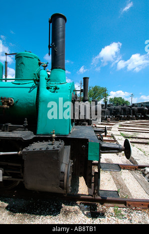 An old locomotive from the Soviet era at the Magyar Vasuttorteneti Park or Hungarian Railway History Park a railway - Stock Photo