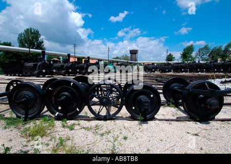 Locomotives of the Hungarian State Railways at the Magyar Vasuttorteneti Park or Hungarian Railway History Park - Stock Photo