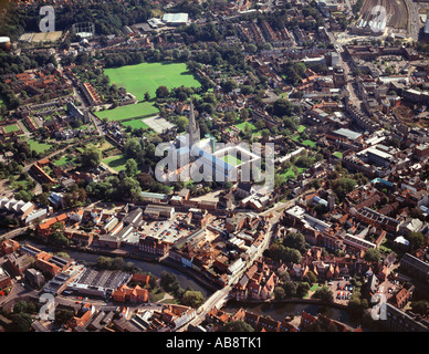 aerial view of norwich, norfolk, england - Stock Photo