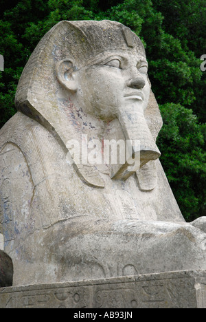 Stone sphinx statue at the entrance to the former Crystal Palace London England - Stock Photo
